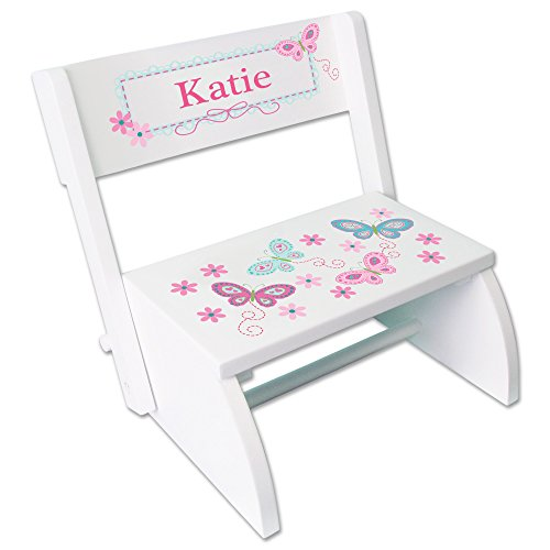 (Personalized White Flip and Folding Step Stool with Aqua Butterflies Design)