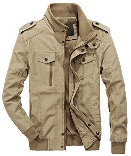 chouyatou Men's Casual Full-Zip Work Wear Military Cotton Lightweight Jacket Windbreaker (Large, 22Khaki)