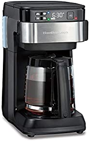 Hamilton Beach Works with Alexa Smart Coffee Maker, Programmable, 12 Cup Capacity, Black and Stainless Steel (
