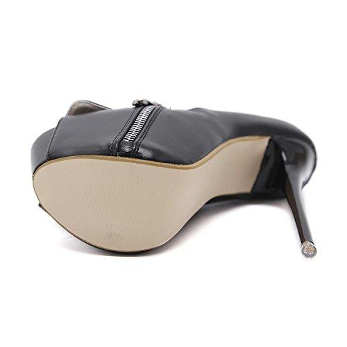 Zipper Poisson L Bouche Femme Décoration yc De Ball Chaussures Mariage D'automne Talons Hauts Rivets Black La ar0pavqx