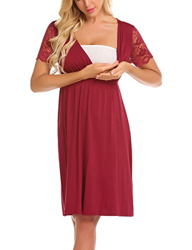 MAXMODA Womens V Neck Maternity Nursing Lace Short Sleeve Pregnancy Wrap Sleep Dress Dark Red
