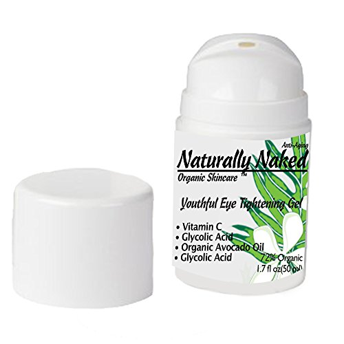 Youthful Eye Tightening Gel, 1.7 oz for Wrinkles, Tightens Fine Lines, Crepey Skin Restores Firmness, Best Anti-Aging Gel Hyaluronic Acid, Vitamin C, Glycolic Acid, 72% Organic, Kosher
