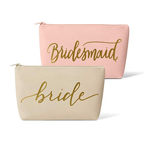 Bridal Party + Bride Makeup Bags - Leather Cosmetic Bags for Bachelorette Parties, Weddings, Bridal Showers (11 Piece Set, Pink Blush - Bridesmaid)