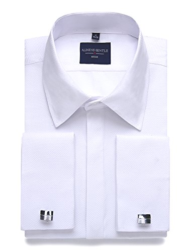 Alimens & Gentle Men's Dress Shirts French Cuff Long Sleeve Regular Fit (Include Metal Cufflinks and Metal Collar Stays) (16'' Neck 32''-33'' Sleeve, White)