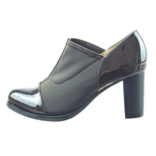 Sopily - Zapatillas de Moda Botines chelsea boots bimaterial Tobillo mujer acabado costura pespunte Talón Tacón ancho alto 7.5 CM - Marrón