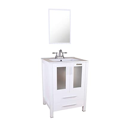 Swell Eclife 24 Bathroom Vanity Sink Combo With Overflow White Drop In 3 Hole Ceramic Sink Top White Mdf Modern Bathroom Cabinet Brushed Nickel Solid Home Interior And Landscaping Ologienasavecom