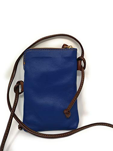 Italian Leather Small Mobile Mh9723 Monahay And Travel Phone Marrone Cross Bag Pouch Body Blu Passport 5EqwXdX