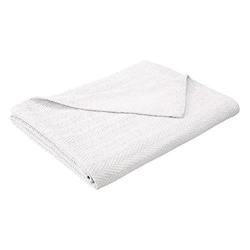 - eLuxurySupply Metro Weave Blanket - 100% Soft Premium Cotton Blanket - Perfect for Layering Any Bed, Full/Queen, White