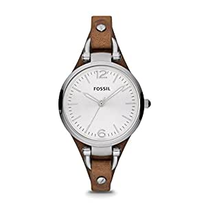 """Fossil Women's ES3060""""Georgia"""" Stainless Steel Watch with Brown Leather Band"""