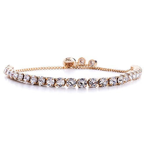Devin Rose Adjustable Bolo Style Tennis Bracelet for Women Made with 4mm Swarovski Crystals in Rose Gold Plated Brass (Pink)