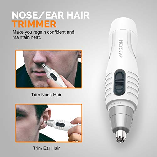 Updated 2019 Version Nose Hair Trimmer for Men & Women, AMAGARM Electric Nose and Ear Hair Trimmers/Clippers Removal, Wet/Dry, PX7 Waterproof , Mute Motor, Double-Edge Stainless Steel Blades