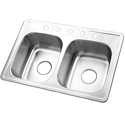 Kingston Brass Double Bowl Self-rimming 33-inch Stainless Steel Kitchen Sink with 5 holes by Kingston Brass