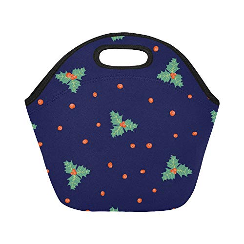 Insulated Neoprene Lunch Bag Poinsettia Hand-painted Flowers Large Size Reusable Thermal Thick Lunch Tote Bags For Lunch Boxes For Outdoors,work, Office, School ()