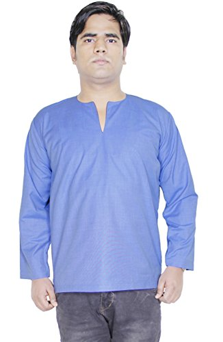 mens-v-neck-long-sleeve-t-shirt-indian-cotton-short-kurta-dress-size-l