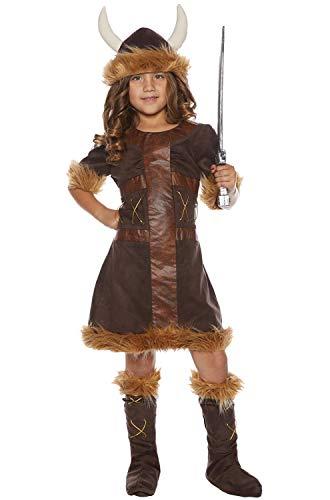Underwraps Little Girl's Little Girl's Viking Costume Set Childrens Costume, Brown, Medium -