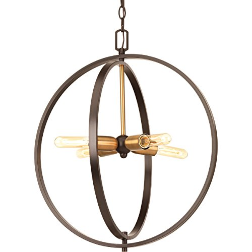 Progress Lighting P5190-20 Traditional/Casual 4-60W Med Pendant, Antique (Bronze Traditional Foyer Light)
