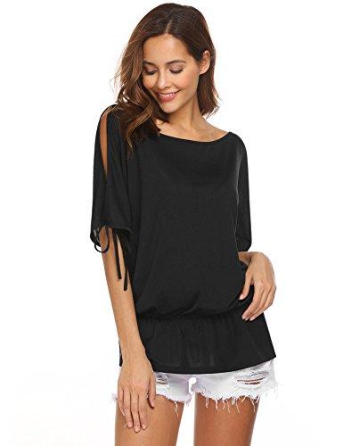 SUNAELIA Women Split Batwing Sleeves Loose Tunic Top,Black,Large (Dolman Top Sleeve Shoulder)