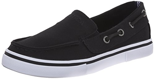 Nautica Doubloon Canvas Slip On Sneaker , Black, 3 M US Litt
