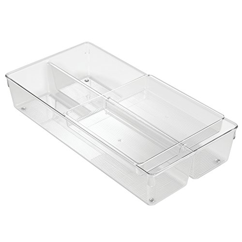 InterDesign Linus 2-Piece Sliding Kitchen Drawer Organizer for Silverware, Flatware, Gadgets - Clear (Drawers Piece 2)
