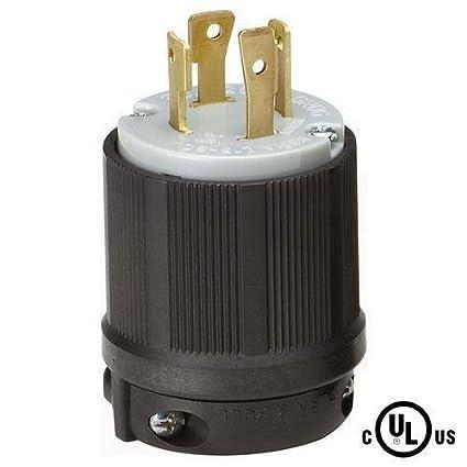 L15-30 Plug, L15-30P Locking Plug, Rated for 30A, 250V AC, cUL ... on 125v 3 wire plug schematic, nema l6 30 wiring, l14-30p schematic, nema 14-30p schematic,