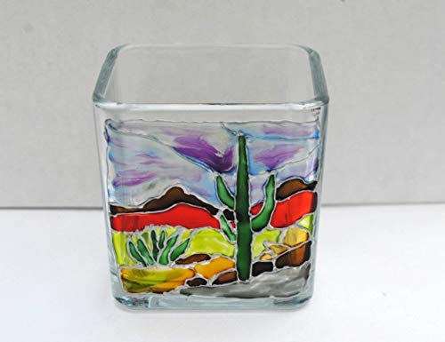 Southwestern Cactus Landscape Hand Painted Stained Glass Square Candle Holder, Home Decor from Atkinson Creations