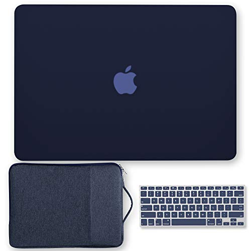 MacBook Air 13 Inch Case Bundle Older Version Compatible A1369 / A1466 2008-2017 Release NO Touch ID, GMYLE Hard Plastic Matte Shell, Soft Canvas Carrying Sleeve & Keyboard Cover - Navy Blue