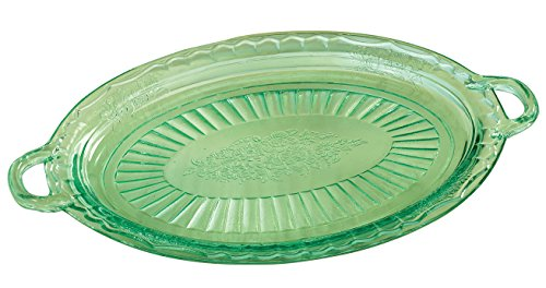 (Fox Valley Traders Depression Style Glass Serving Platter, Classic Green)