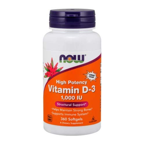 Vitamin D-3, 1,000 IU, 360 Softgels by Now Foods (Pack of 3)