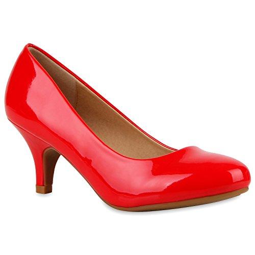 Stiefelparadies Klassische Damen Pumps Kitten Heels Lack Peeptoes Strass Glitzer Abendschuhe Brautschuhe Transparent Schuhe Stilettos Flandell Rot
