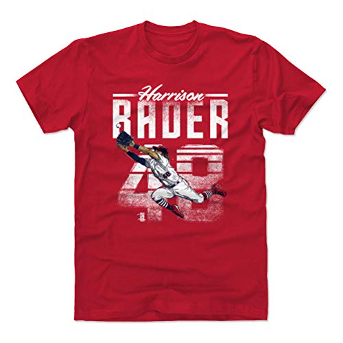 (500 LEVEL Harrison Bader Cotton Shirt (Large, Red) - St. Louis Baseball Men's Apparel - Harrison Bader Retro W WHT )