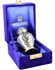 MEILINXU Funeral Urn by Small Urns for Ashes Keepsake and Mini Cremation Urns for Ashes Adult - Brass Urn & Hand Engraved - Display Burial Urn at Home Or Office (Gold Arcadia Flying Birds, Baby Urn