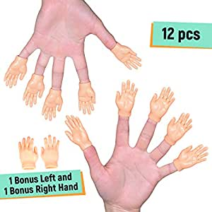 NextClimb Tiny Hand Finger Puppets (Pack of 12 - 6 Right & 6 Left) - Little Finger Props for Hands - Halloween Hand Prop Accessories - Mini Prank Hand & Gag Gifts for Adults