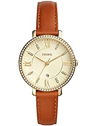 Women's 'Jacqueline' Quartz Stainless Steel and Leather Casual Watch, Color:Brown (Model: ES4293)