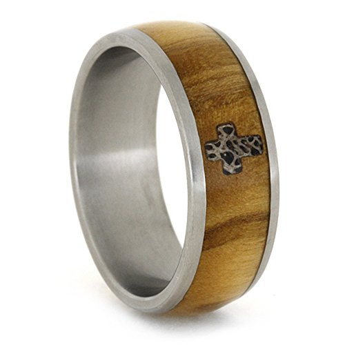 Bethlehem Olive Wood, Antler Cross 8mm Comfort-Fit Matte Titanium Band, Size 10.5 by The Men's Jewelry Store (Unisex Jewelry)