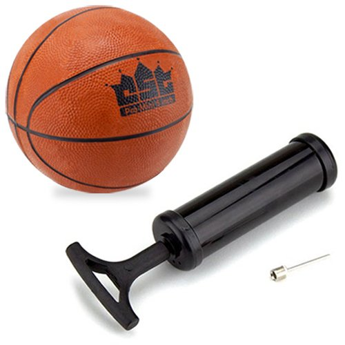 5 Inch Mini Rubber Basketball (Crown Sporting Goods Mini Basketball with Needle and Inflation Pump, 5-Inch)