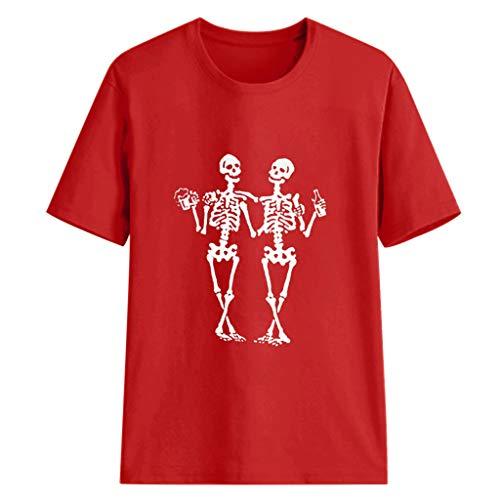 (Sherostore ♡ Women's Print Funny Graphic T-Shirt Casual Short Sleeve Tee Tops Blouse Cute T-Shirt Red)