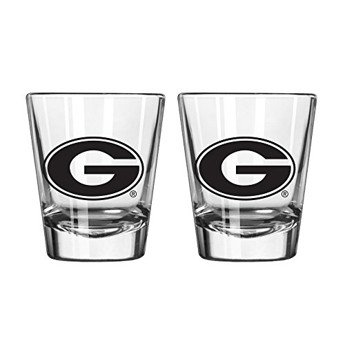 NCAA Georgia Bulldogs Game Day Shot Glass, 2-ounce, 2-Pack (Glass Shot Sports Fan)