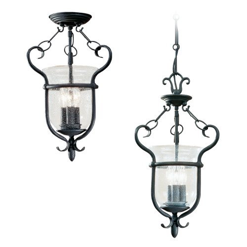 Sea Gull Lighting 5101-07 Manor House Collection Three-Light Pendant, Weathered Iron Finish with Clear Seeded Glass