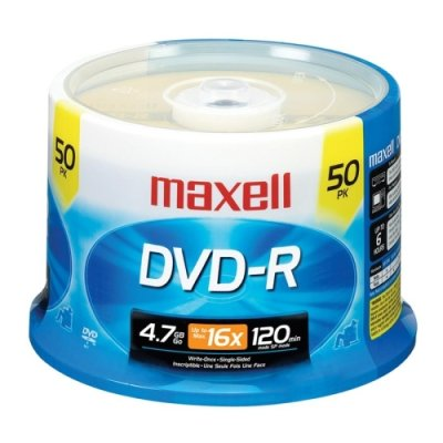 Maxell DVD Recordable Media - DVD-R - 16x - 4.70 GB - 50 Pack Spindle - 120mm