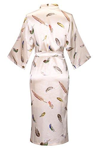 DandyChic Women's Kimono Robes Feather Print Kimono Imitation Silk Long Style by DandyChic (Image #1)