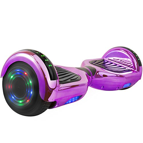 "Price comparison product image Levit8ion ION 6.5"" Hoverboard -Self Balancing Scooter 2 Wheel Electric Scooter - UL Certified 2272 Bluetooth W/Speaker, LED Wheels And LED Lights (Chrome Purple)"