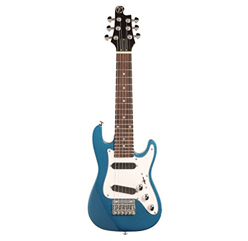 Vorson EGLST VBL S-Style Guitarlele Travel Electric Guitar with Gigbag, Metallic Blue by Vorson
