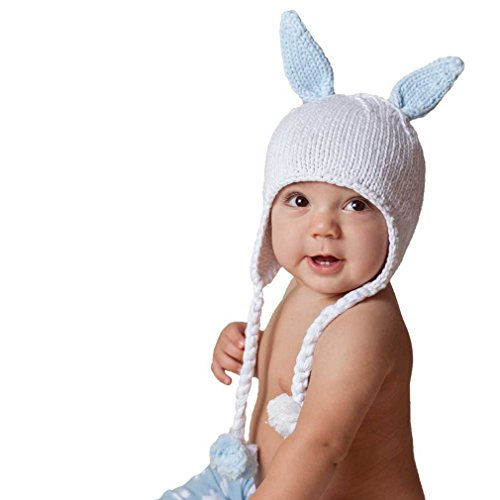 Huggalugs Hugbunny Bunny Rabbit Boys Blue Beanie Hat Size Medium -