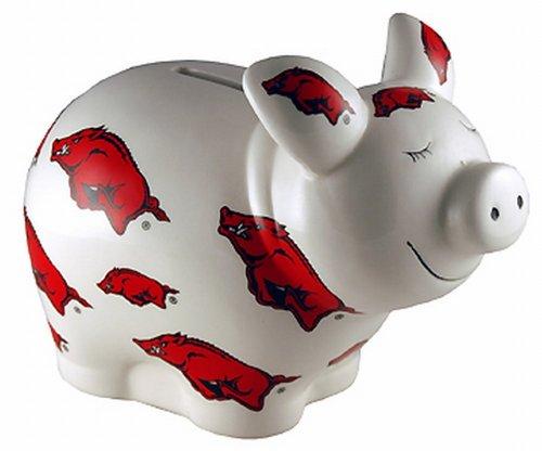 NCAA Arkansas Razorbacks Piggy Bank with All Over Logo