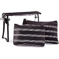 Waterproof stripe Cosmetic Bag Set Toiletry Storage Organizer for Women Girls (Black)