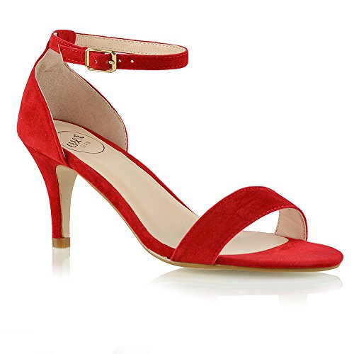 ESSEX GLAM Womens Low Heel Sandals Peep Toe Stiletto Ladies Barely There Ankle Strap Shoes Red Faux Suede JxVnKXj1