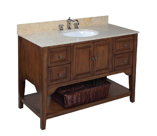 Kitchen Bath Collection KBC48TRA33 Washington Bathroom Vanity with Marble Countertop, Cabinet with Soft Close Function and Undermount Ceramic Sink, Travertine/Brown, 48