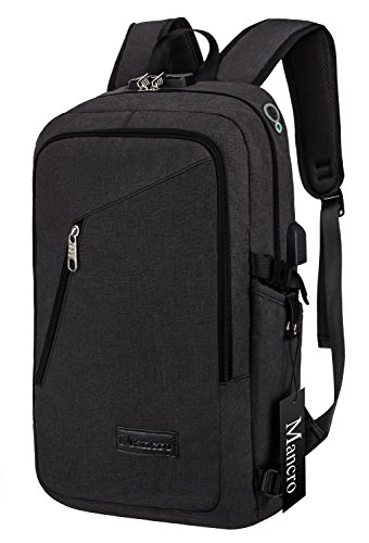 Mancro Slim Laptop Backpack, Business Computer Bag with Headphone Port, Anti Theft Travel Bag with USB Charging Hole for College Students, Fits up to 15.6 inch Laptop / Notebook (Black)
