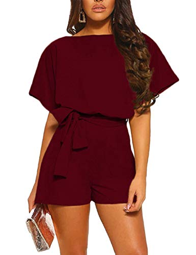 KIRUNDO Women's Summer Solid Casual Short Sleeve High Waist Crew Neck Short Jumpsuit with Bow Belt (Medium, Wine Red)