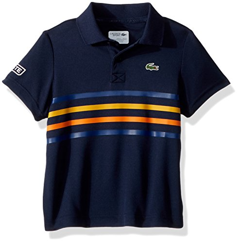 Lacoste Little BOY Short Sleeve Ultra Dry Player Outfit Polo, Navy Blue/Marino-Buttercup-Apricot -